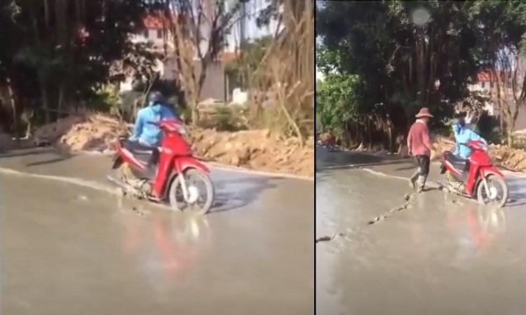 'Ninja hóa đá' khi đi vào đường mới đổ bê tông