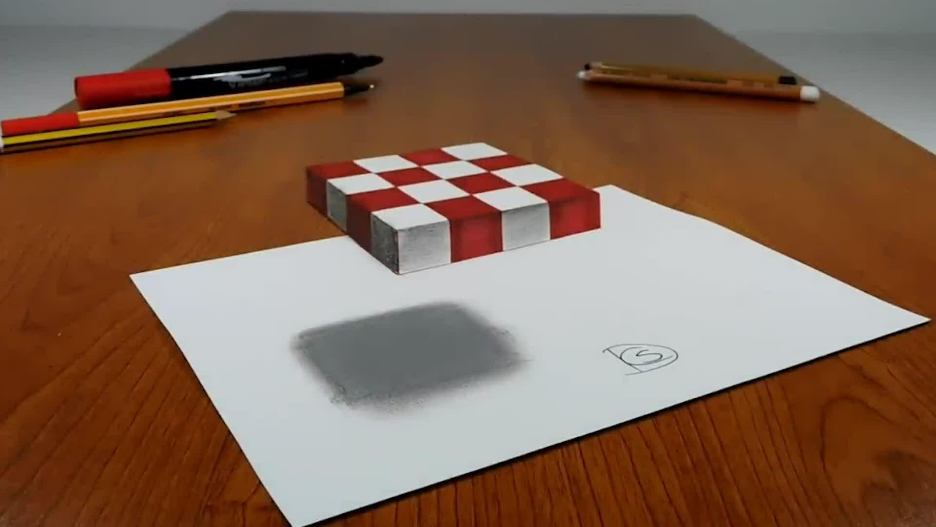 Vẽ bàn cờ lơ lửng trên giấy