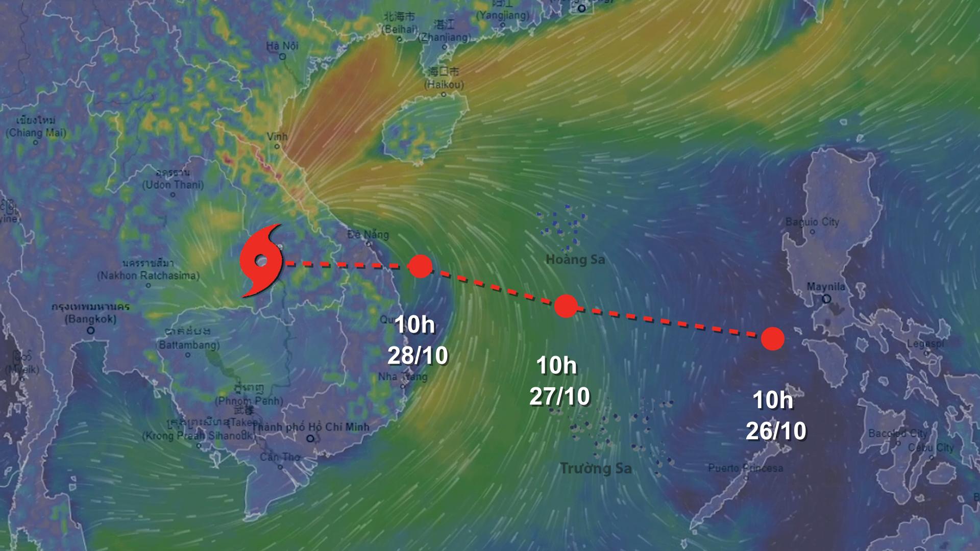 Bão Molave di chuyển nhanh hướng vào biển Đông