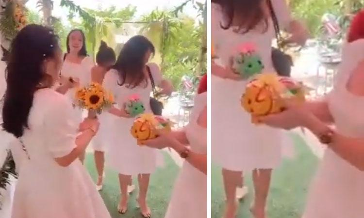 Cô dâu được hội bạn tặng lợn đất 'ăn' cả năm