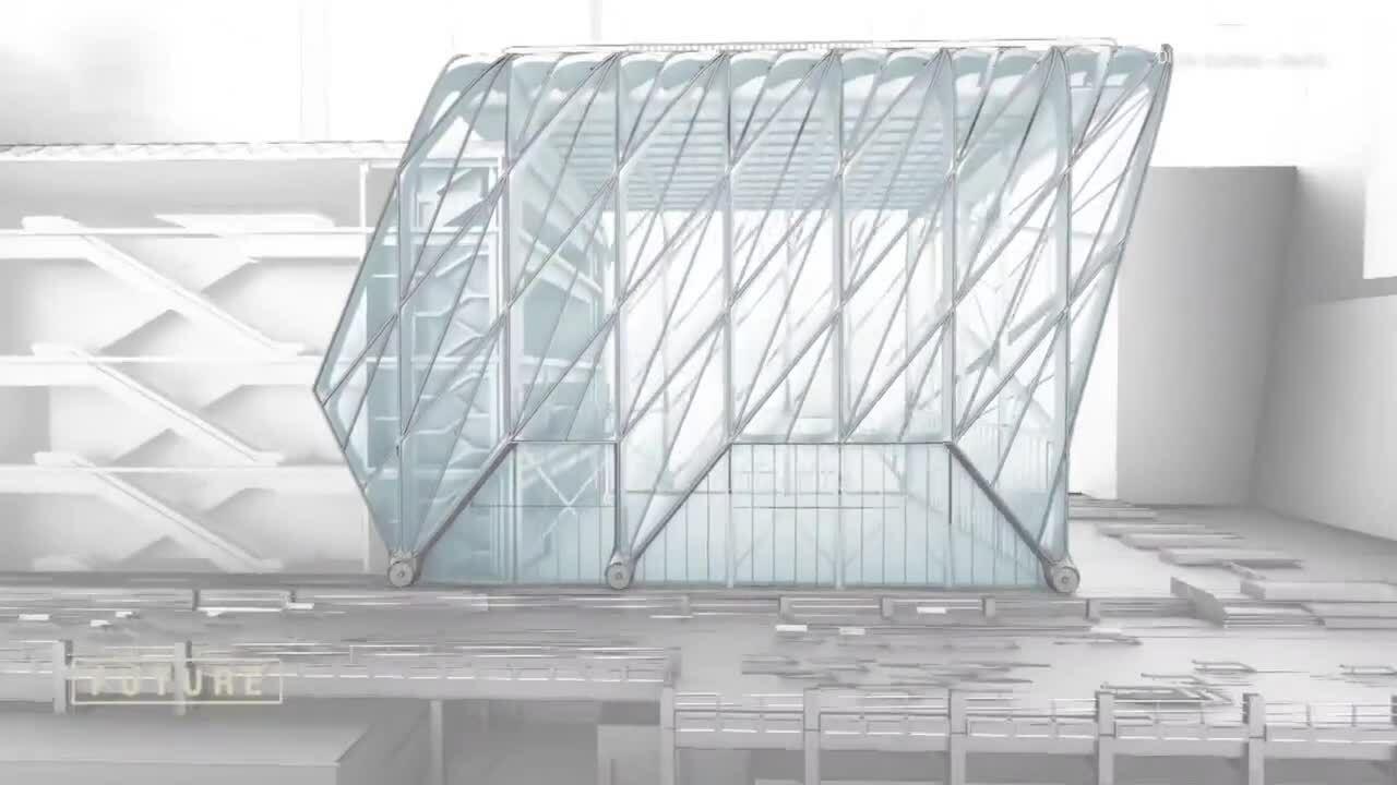 Tòa nhà rộng 18.500 m2 có khung gắn bánh xe