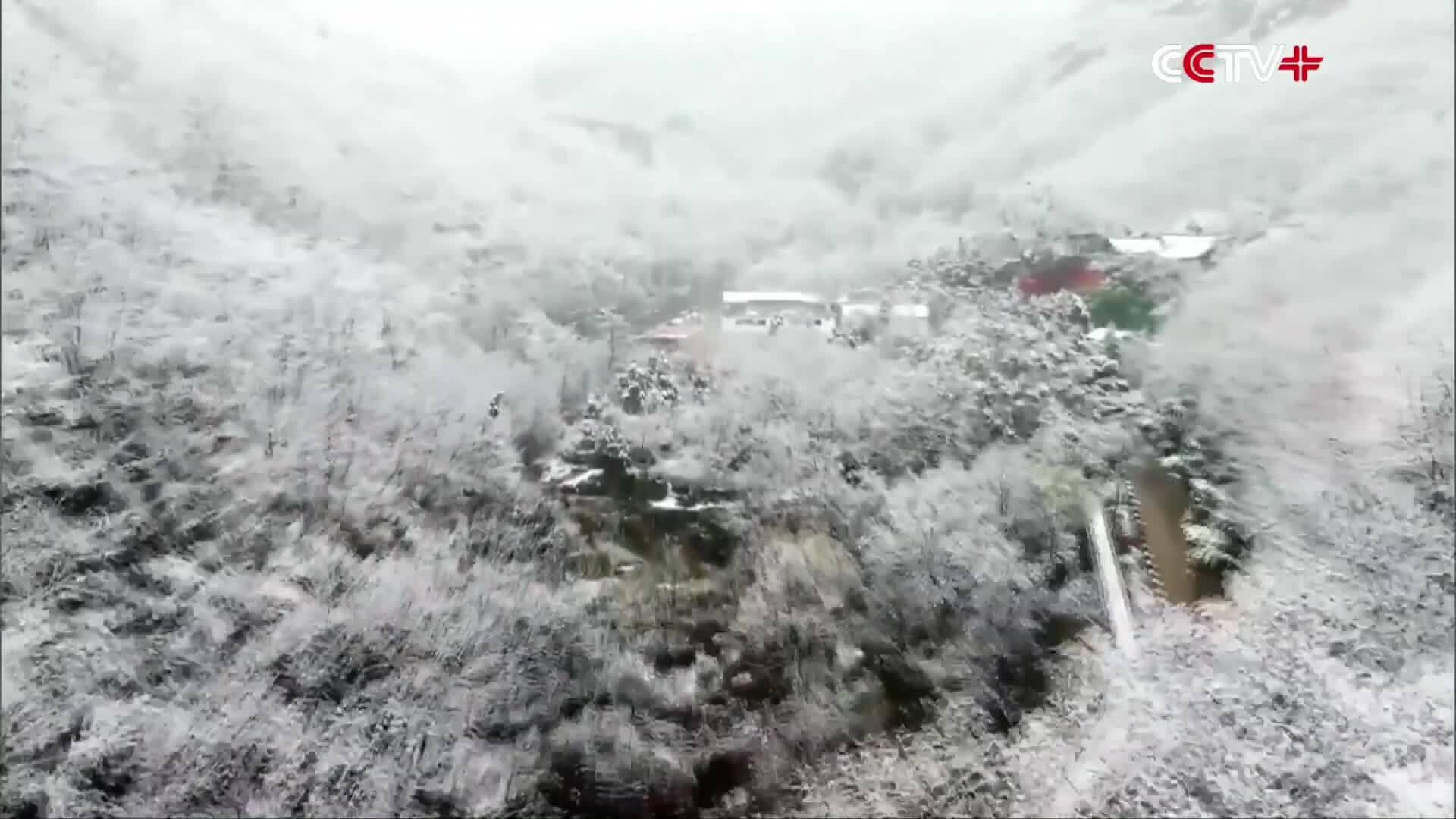 Núi Huanghua hóa 'tiên giới' sau trận tuyết đầu mùa