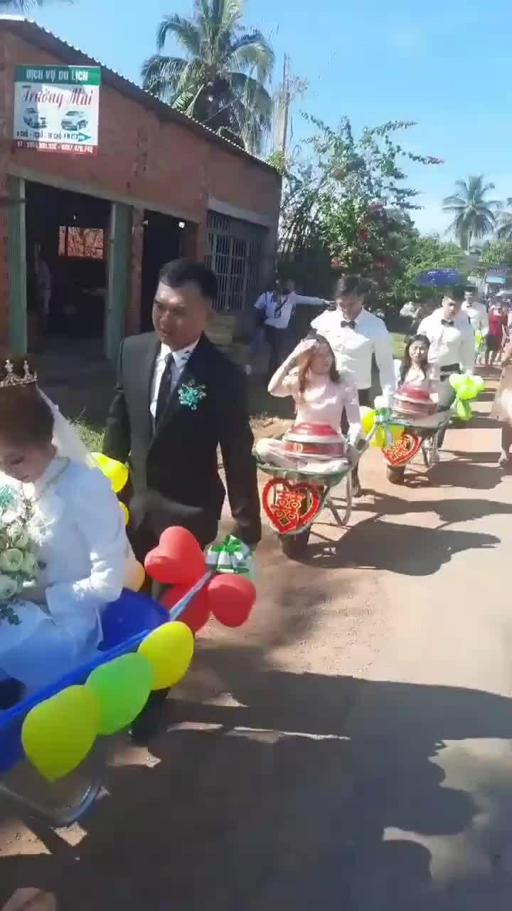 Chú rể đón dâu bằng xe rùa