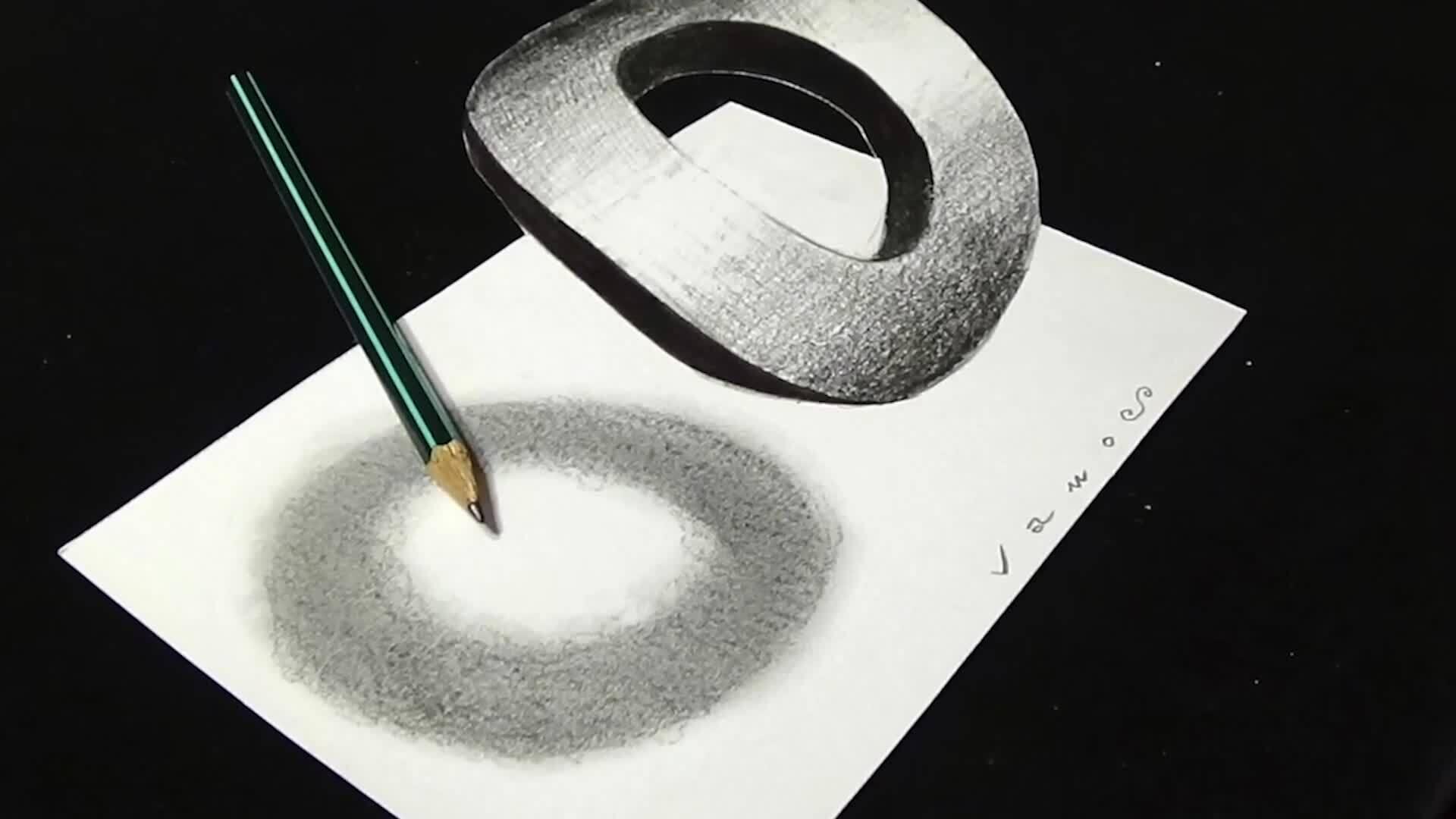 Vẽ chữ O 3D lơ lửng trên giấy