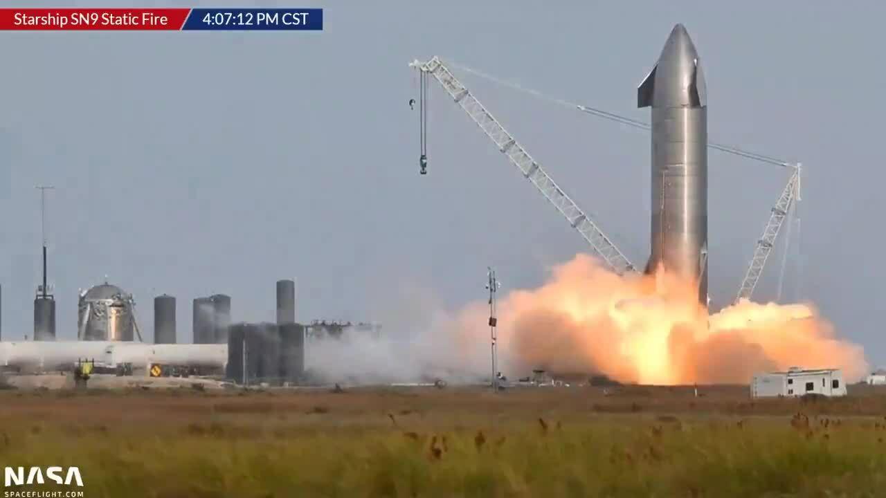 SpaceX thử nghiệm động cơ nguyên mẫu tàu Starship SN9