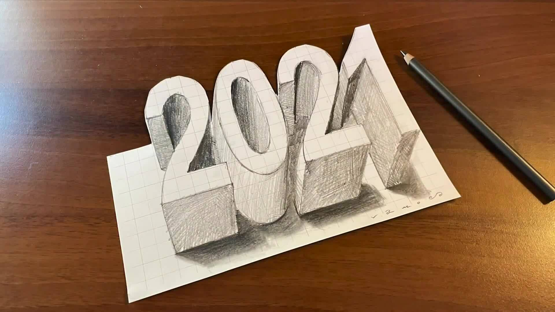 Vẽ số 2021 nổi trên giấy