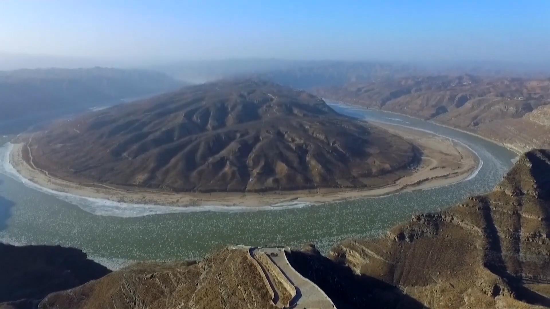 Băng trôi phủ kín khúc sông Hoàng Hà