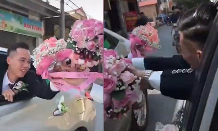 Hai chú rể đổi hoa cưới cho nhau