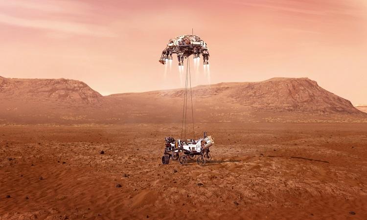 Mô phỏng quá trình robot NASA hạ cánh trên sao Hỏa