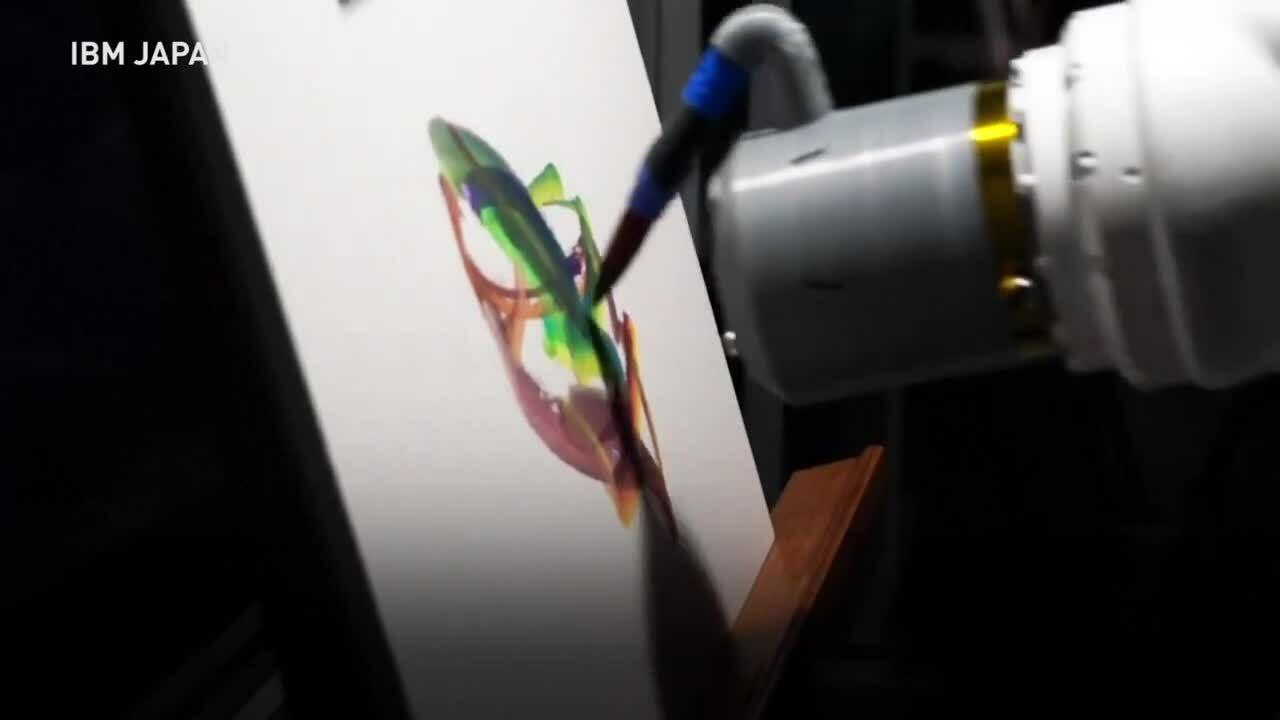 Robot họa sĩ pha màu và vẽ tranh