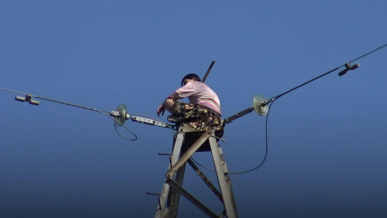 Cảnh sát giải cứu cô gái trèo trụ điện cao 100 mét
