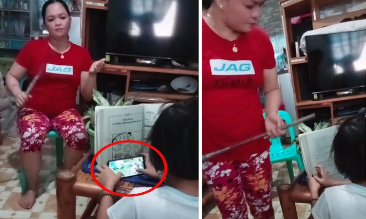 Con gái ranh ma dùng điện thoại trước mặt mẹ