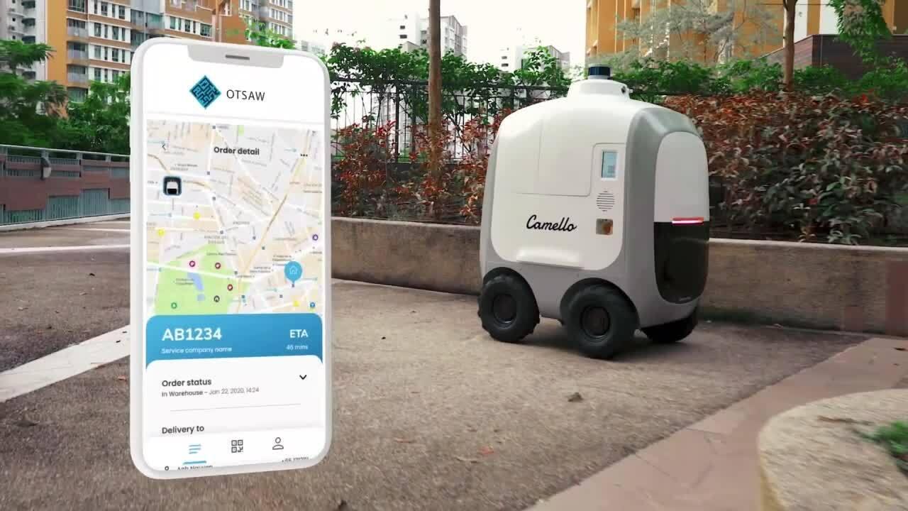 Robot giao hàng tự hành trên đường phố