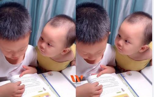 Em trai làm nũng khi anh học bài