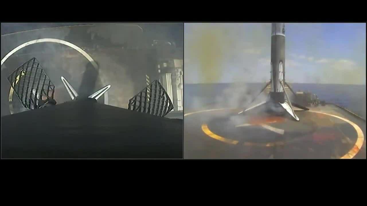 Cận cảnh tên lửa SpaceX đáp xuống sà lan trên biển