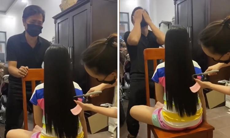 Bố tiếc nuối khi vợ cắt tóc cho con gái