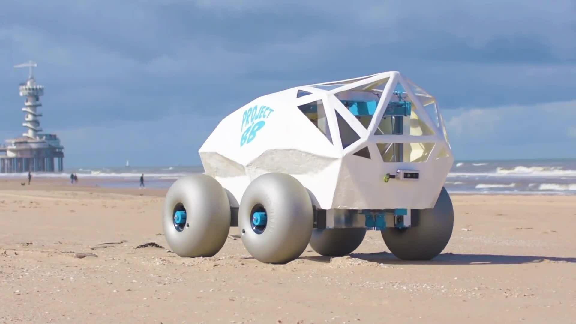 Robot AI tự động nhặt đầu lọc thuốc lá trên bãi biển