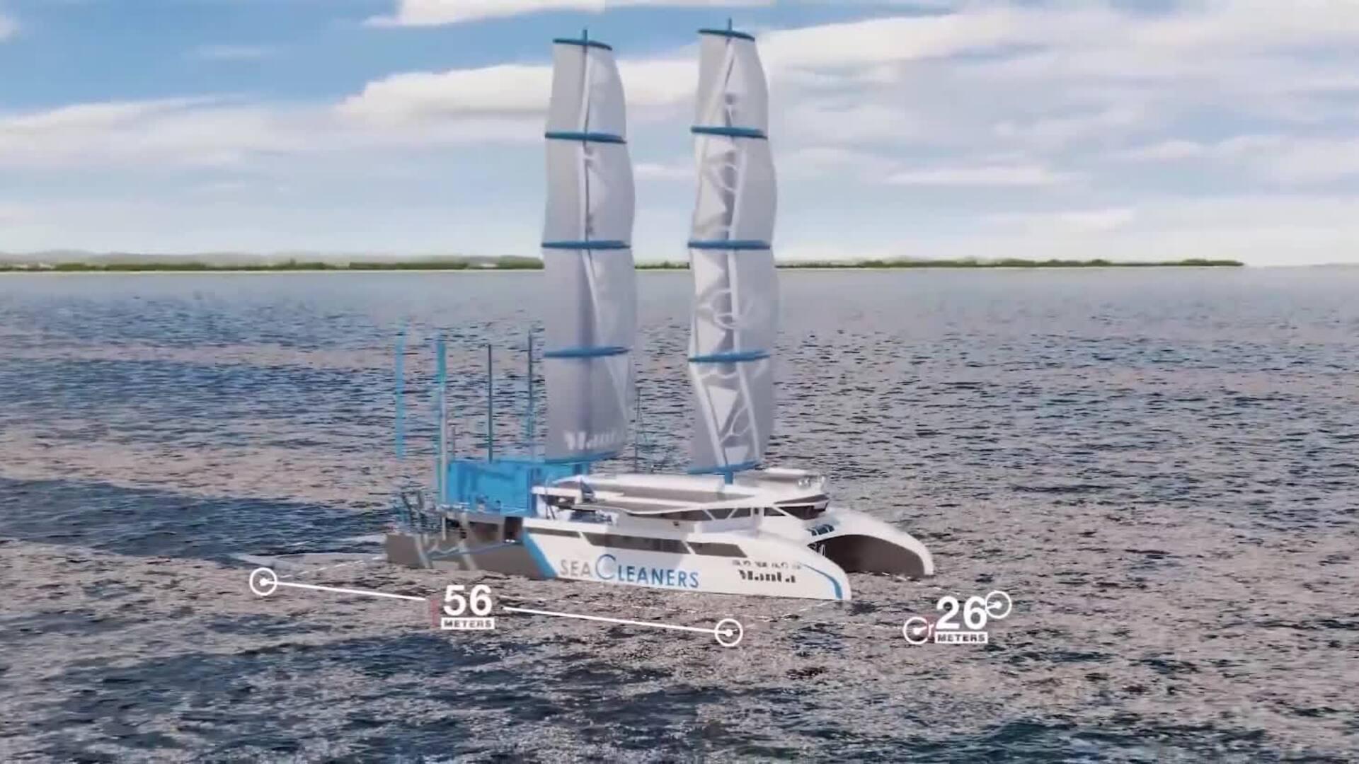 Concept siêu thuyền buồm lai thu gom rác thải nhựa