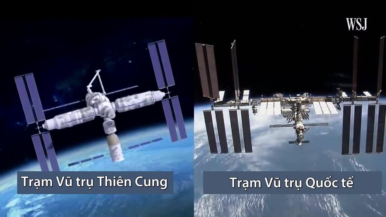 So sánh trạm vũ trụ Trung Quốc và trạm ISS