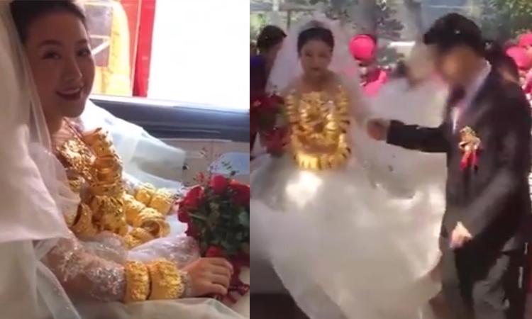 Cô dâu nặng trĩu cổ vì đeo 60 chiếc vòng vàng